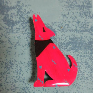 SIGNED SOUTHWEST ENAMELED RED COYOTE PIN